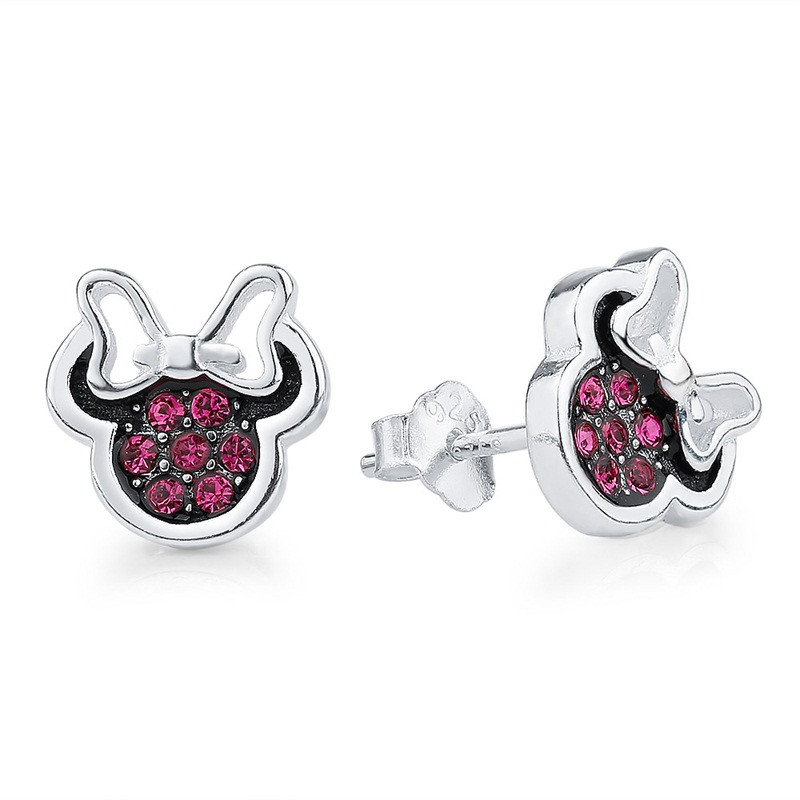Cute Mouse Stud Earrings CZ 925 Sterling Silver
