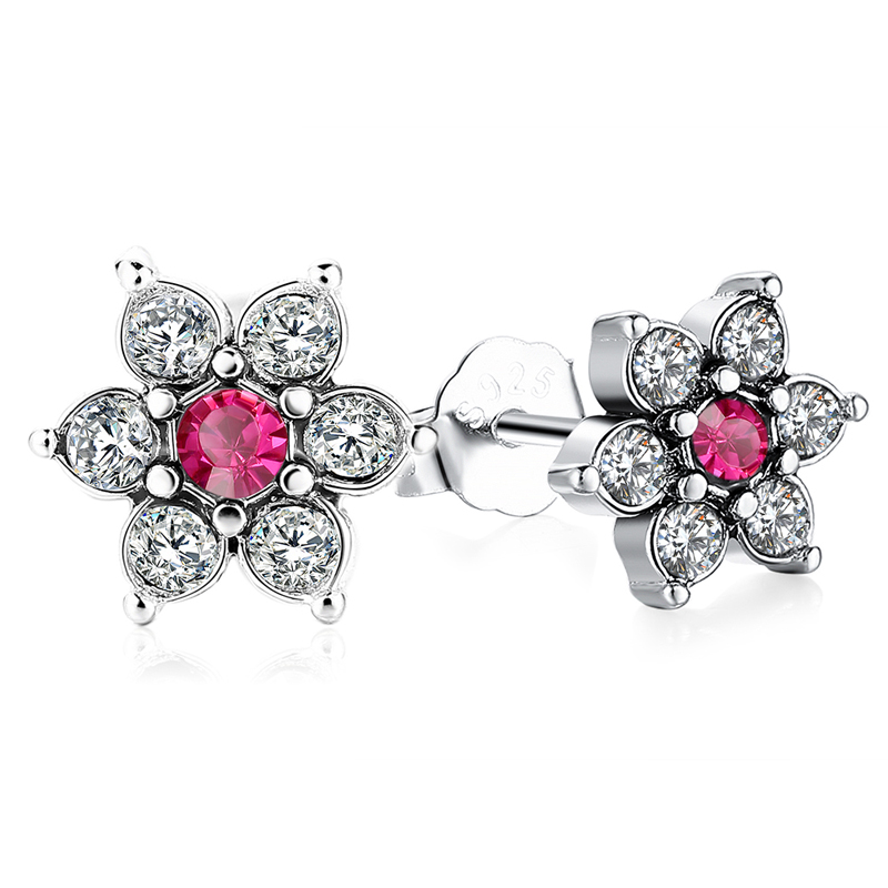 CZ Flower Stud Earrings 925 Sterling Silver