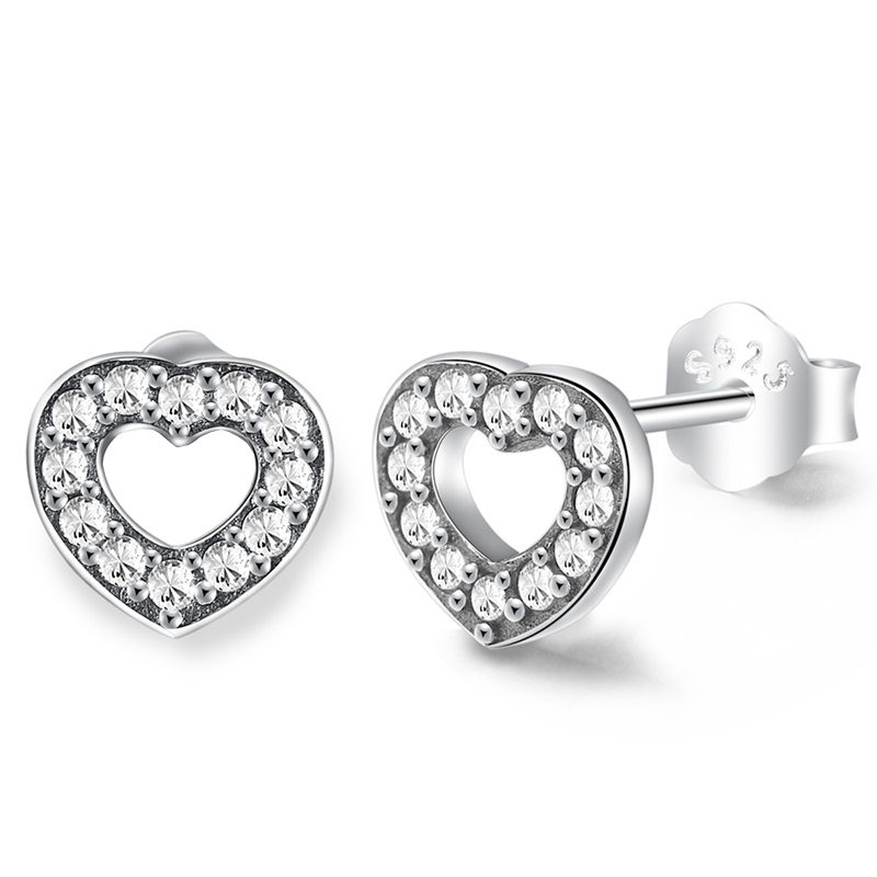 CZ Heart Stud Earrings 925 Sterling Silver