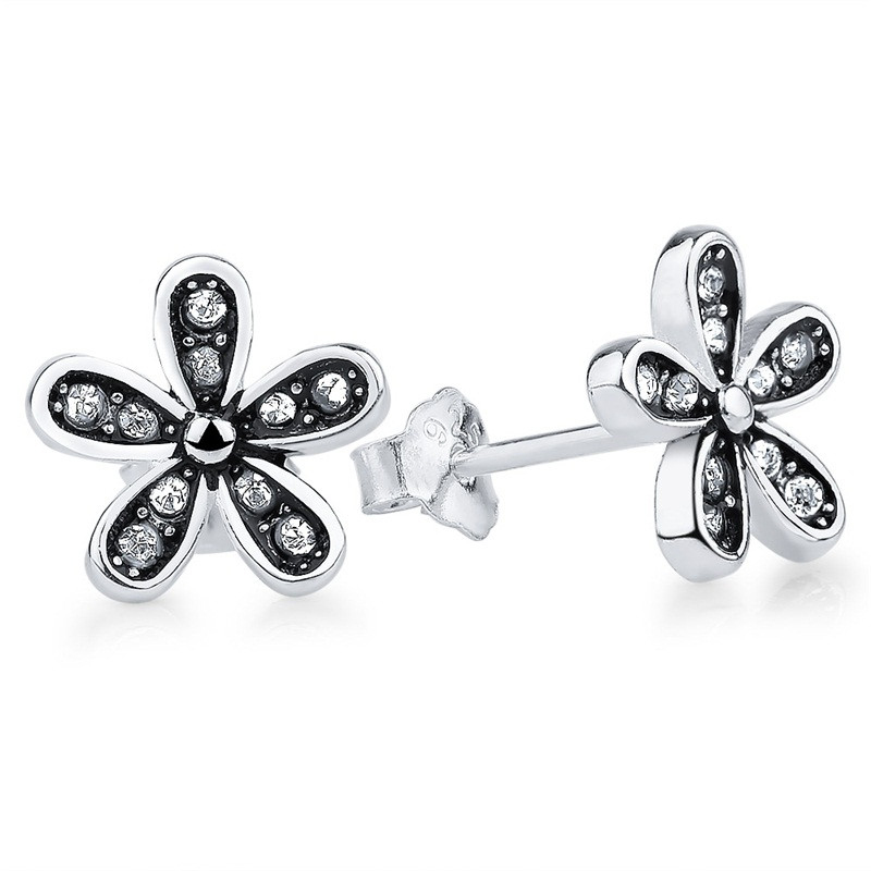 Daisy CZ Stud Earrings 925 Sterling Silver
