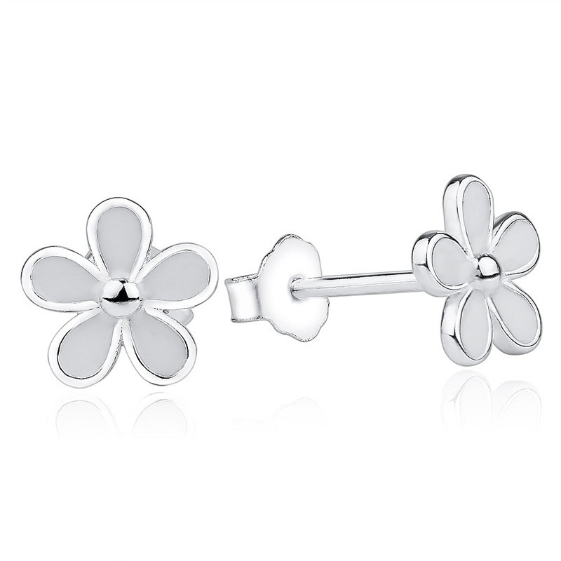 Daisy Stud Earrings White Enamel 925 Sterling Silver