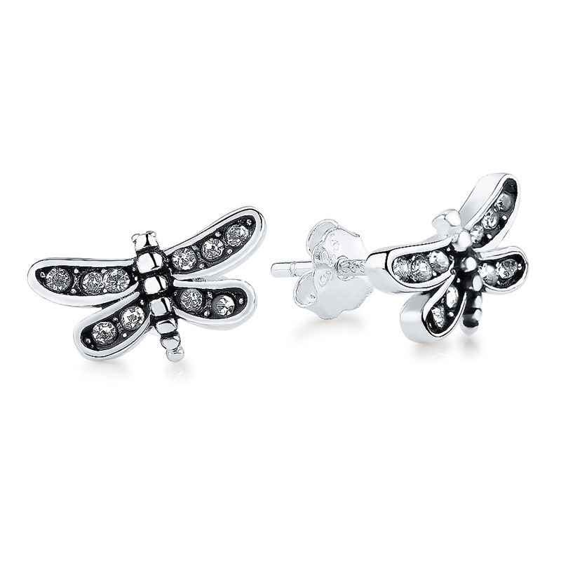 Dragonfly Stud Earrings CZ 925 Sterling Silver