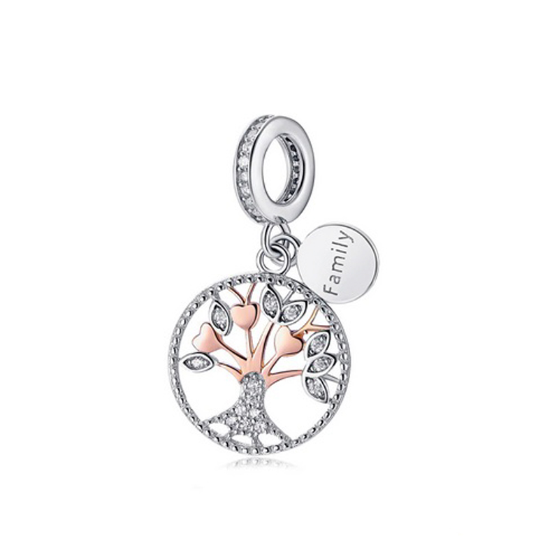 Family Tree Charm 925 Sterling Silver Cubic Zirconia