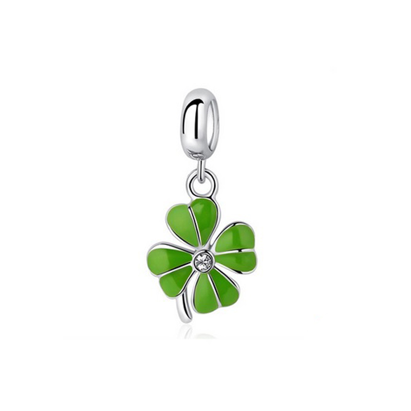 Green Clover Charm 925 Sterling Silver Cubic Zirconia