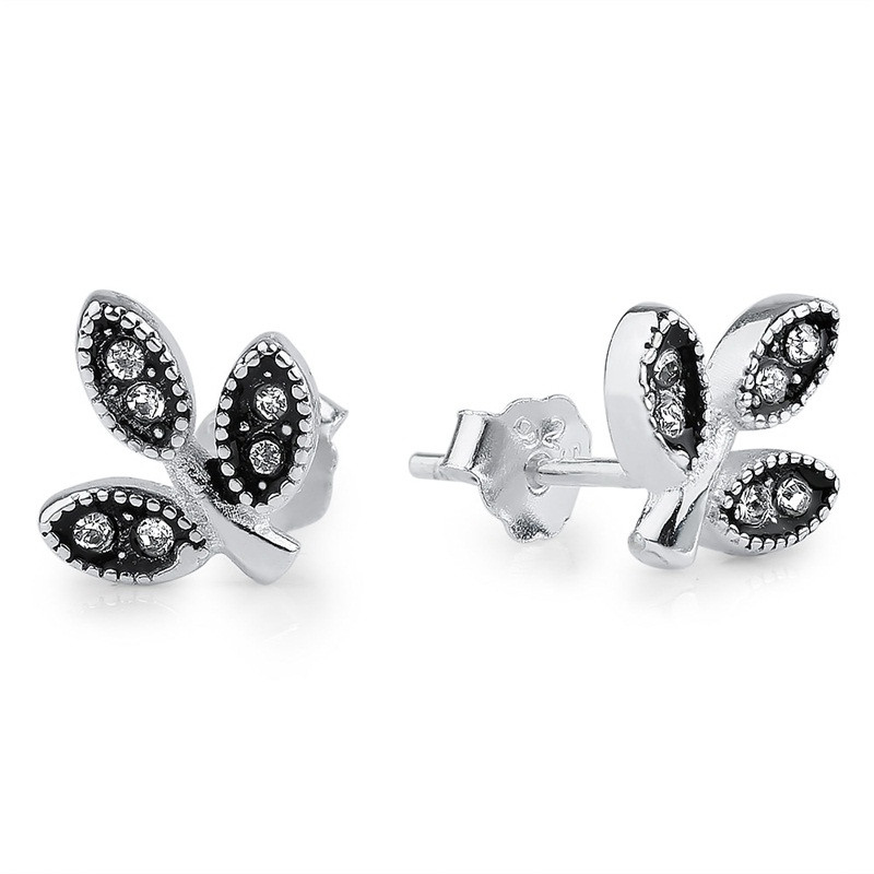 Leaves CZ Stud Earrings 925 Sterling Silver