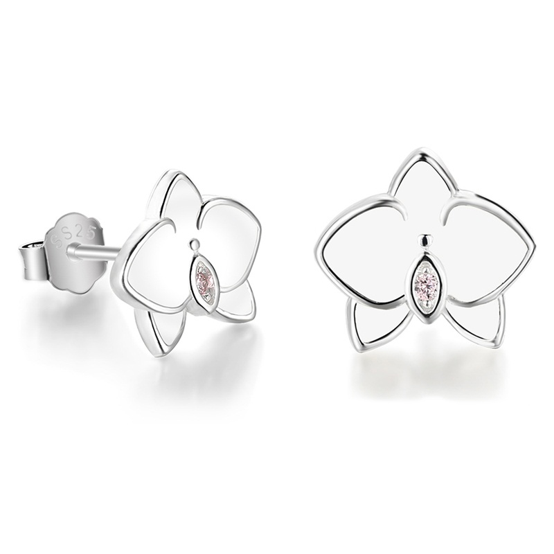 Orchid Flower Stud Earrings Enamel CZ Silver