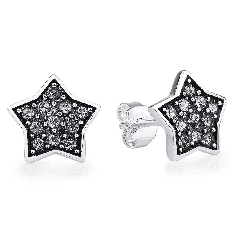 Sparkling Star Stud Earrings CZ 925 Sterling Silver
