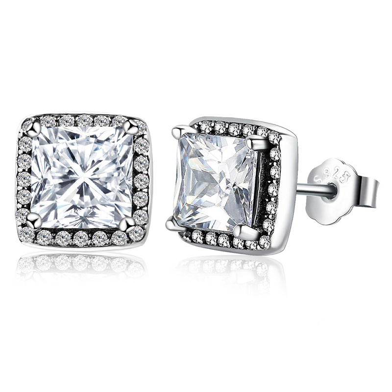 Square Stud Earrings CZ Crystal 925 Sterling Silver