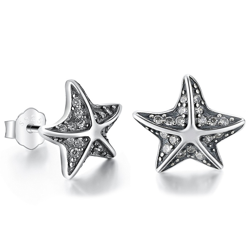 Starfish Stud Earrings CZ 925 Sterling Silver
