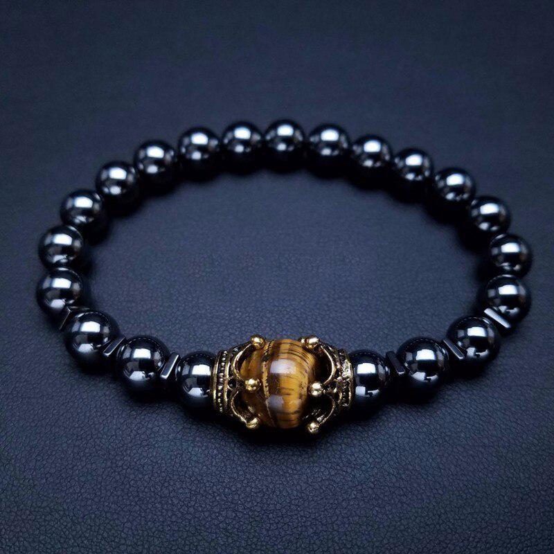 Antique Style Men Bracelet Crown Charm Stretch Beaded