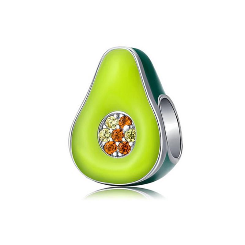 Avocado Charm Bead 925 Sterling Silver Enamel CZ