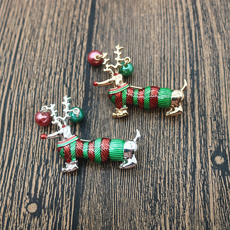 Christmas Dog Brooch New Year Gift Jewelry