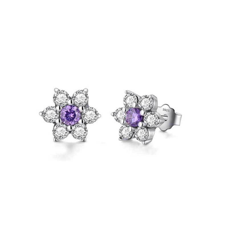 Crystal Flower Stud Earrings 925 Sterling Silver