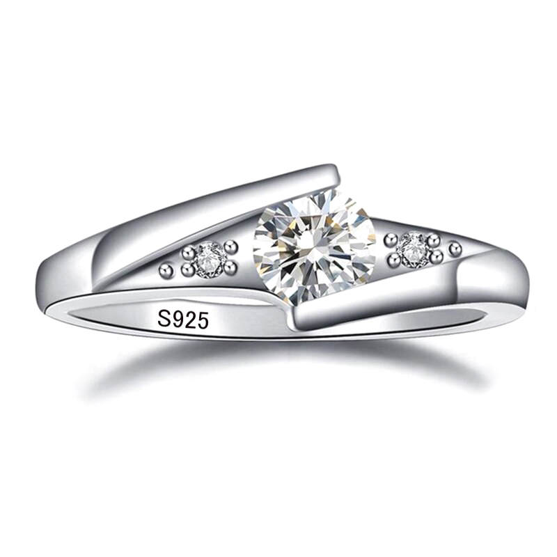 CZ 925 Silver Ring Engagement Wedding Jewelry