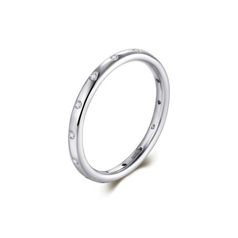 CZ Band Stackable Ring 925 Sterling Silver