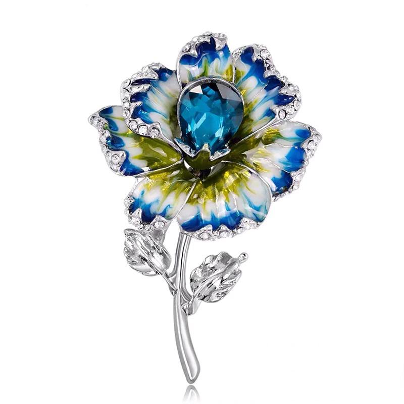 Enamel Crystal Flower Brooch Wedding Jewelry Pin