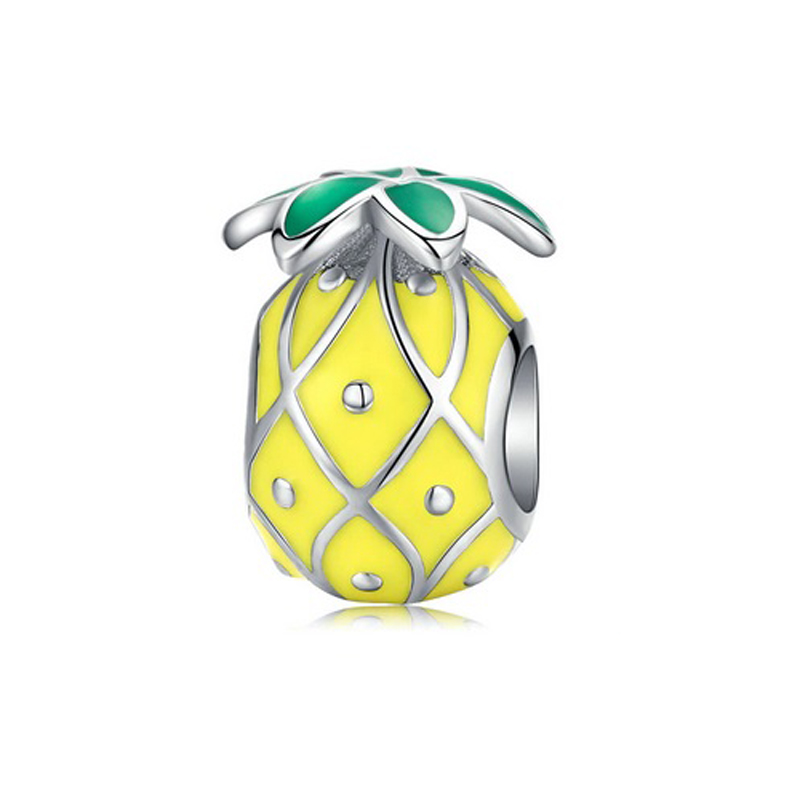 Pineapple Charm Bead 925 Sterling Silver Enamel