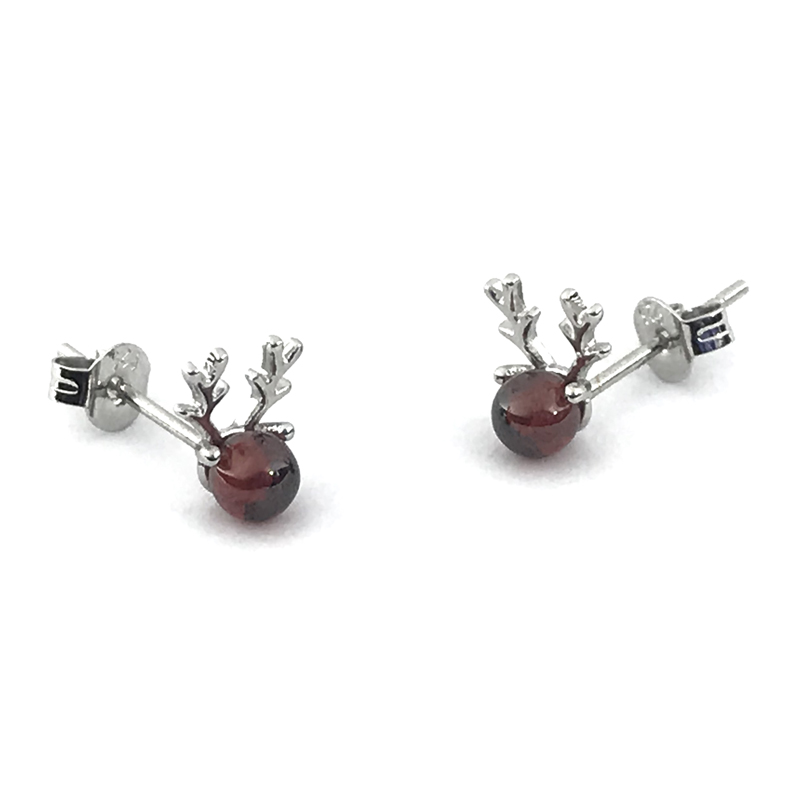 Red Garnet Stud Earrings New Year Gift Jewelry