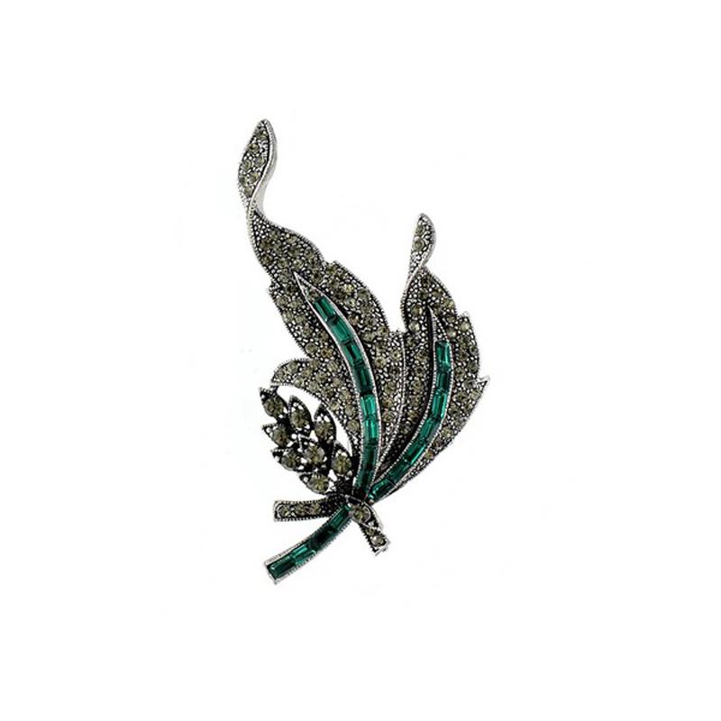 Rhinestone Vintage Leaf Brooch Jewelry Accessory