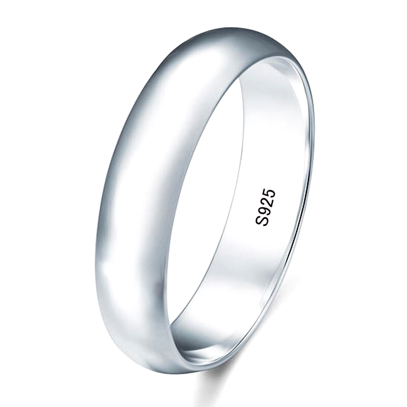Silver Wedding Band Ring S925 Engagement Gift Jewelry