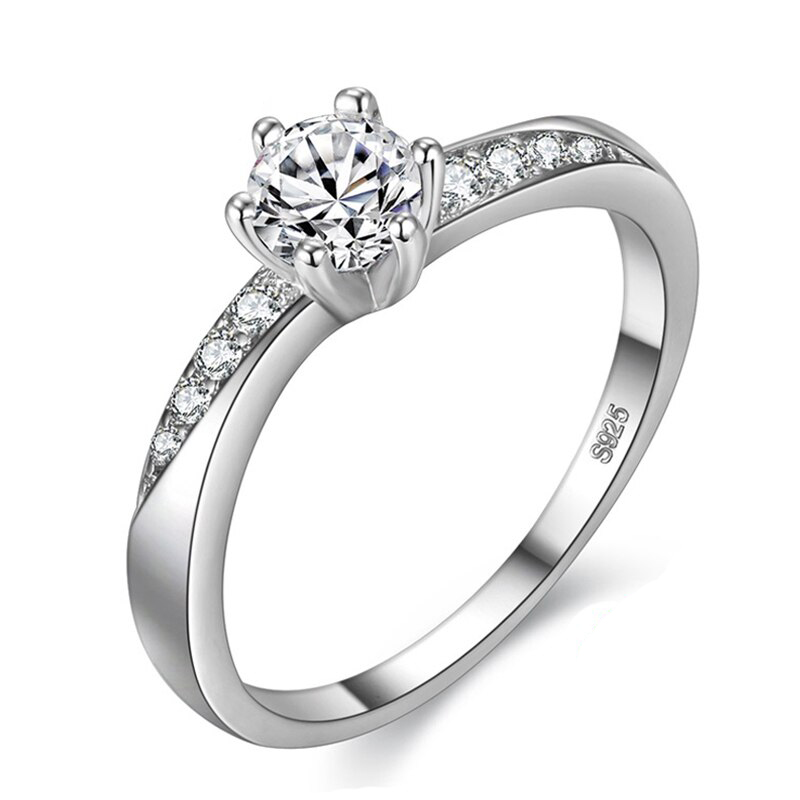 Solitaire Wedding Ring Cubic Zirconia 925 Sterling Silver