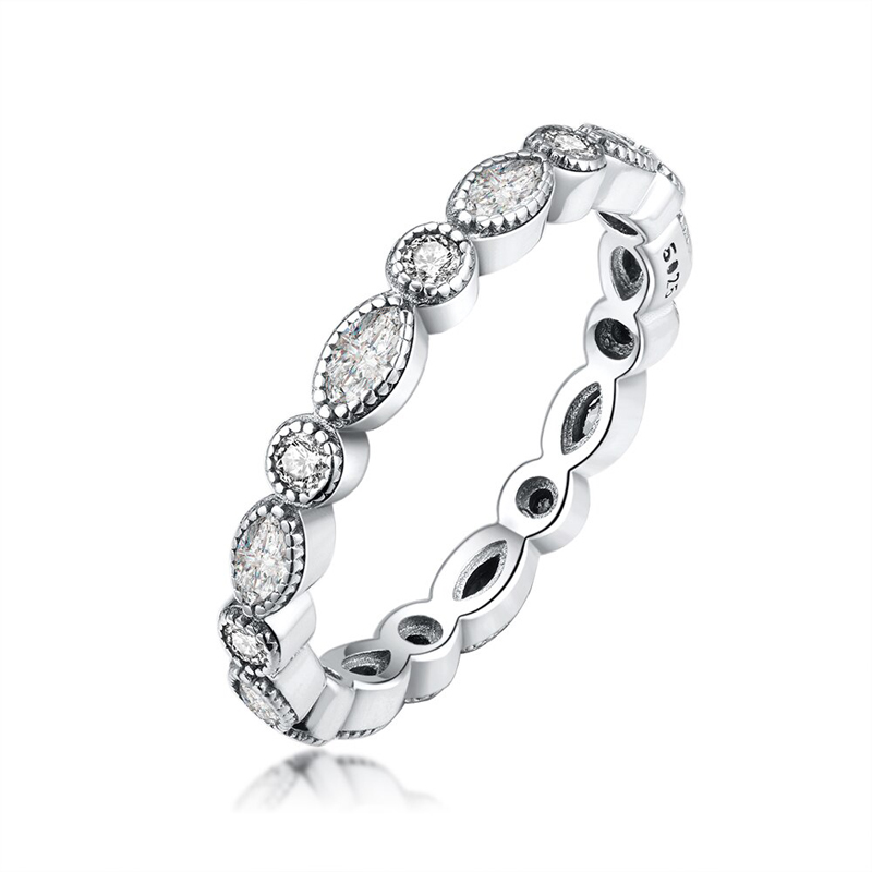 Sparkling Leaves Wedding Ring 925 Sterling Silver CZ