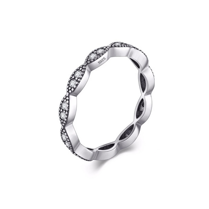 Stackable CZ Silver Ring Delicate Wedding Jewelry