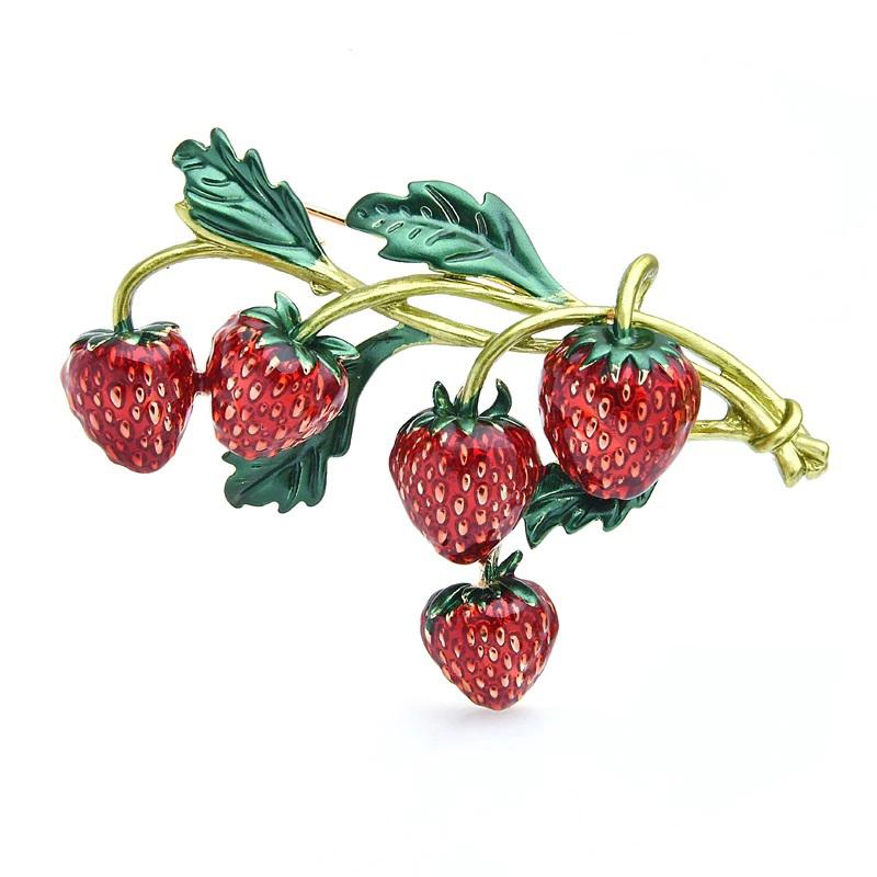 Strawberries Brooch Enamel Dress Decorating Jewelry