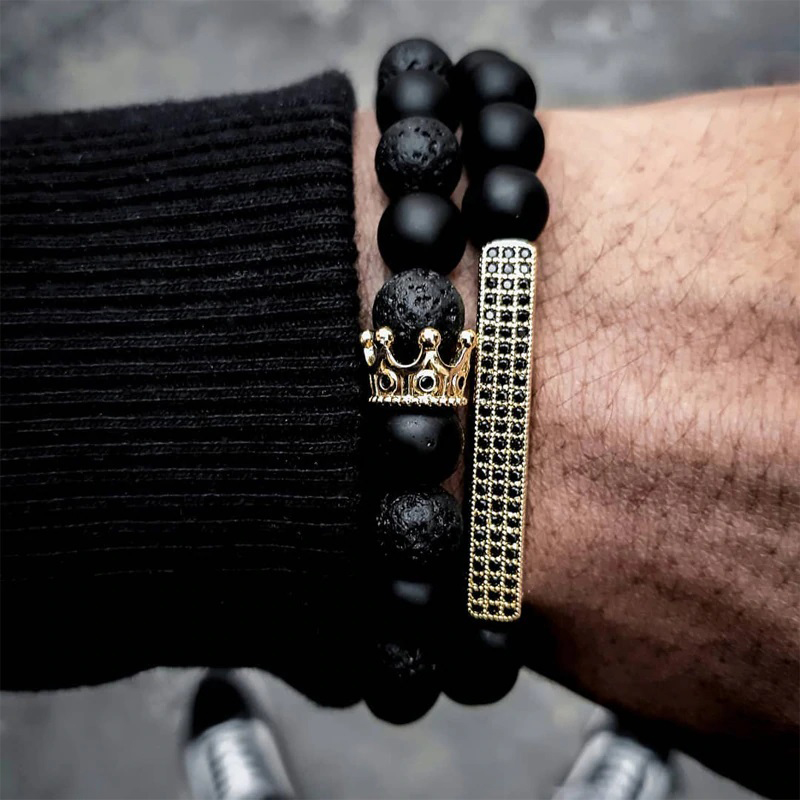 Beaded Bracelets for Men Stretch Crown Cross Charm