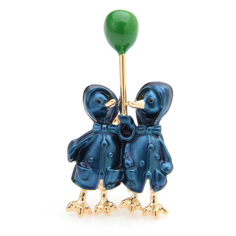 Couple Ducks Brooch Alloy Enamel Lovely Pin