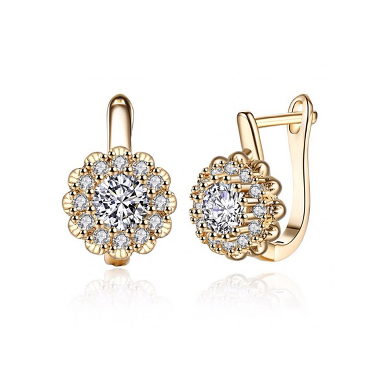 Cubic Zirconia Flower Earrings Cute Gift Jewelry