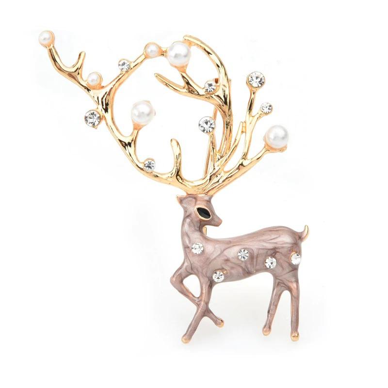 Elk Pearl Brooch Deer Animal Jewelry Pin Gift