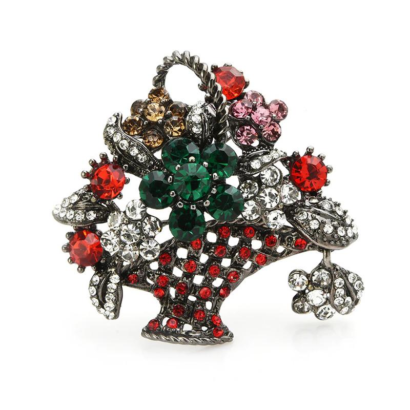 Flower Basket Rhinestone Brooch Wedding Decorating Pin