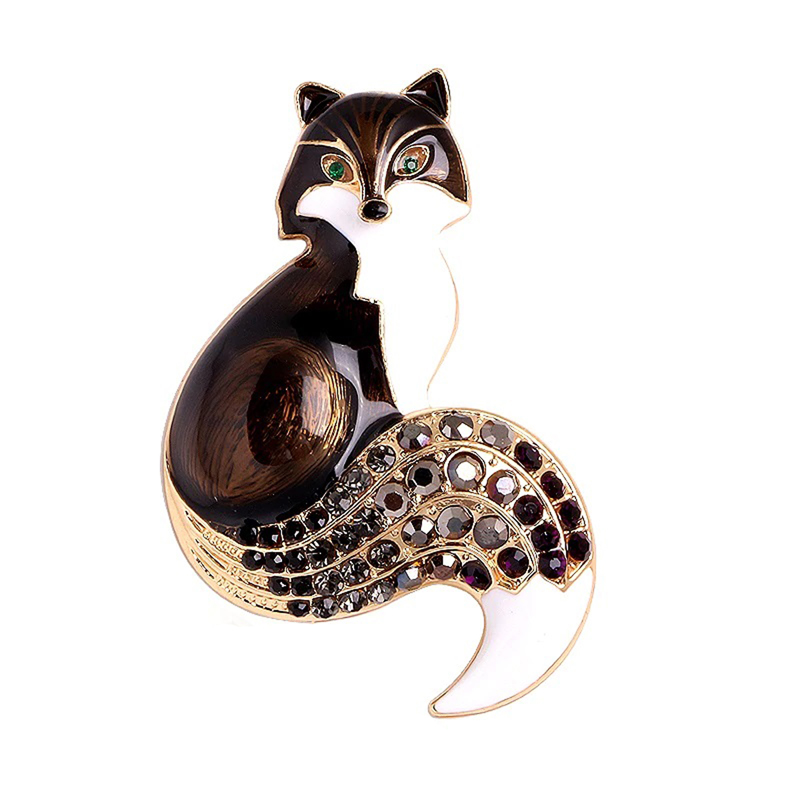 Fox Brooch Enamel Rhinestone CZ Animal Pin Jewelry