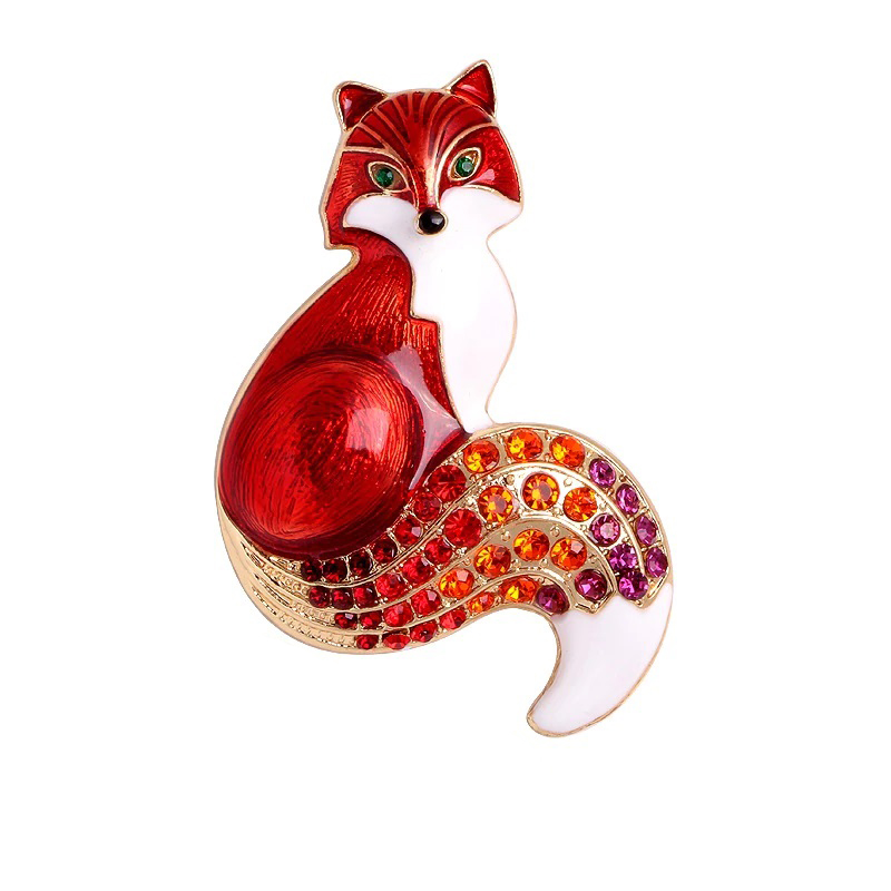 Fox Brooch Enamel Rhinestone CZ Animal Pin Jewelry