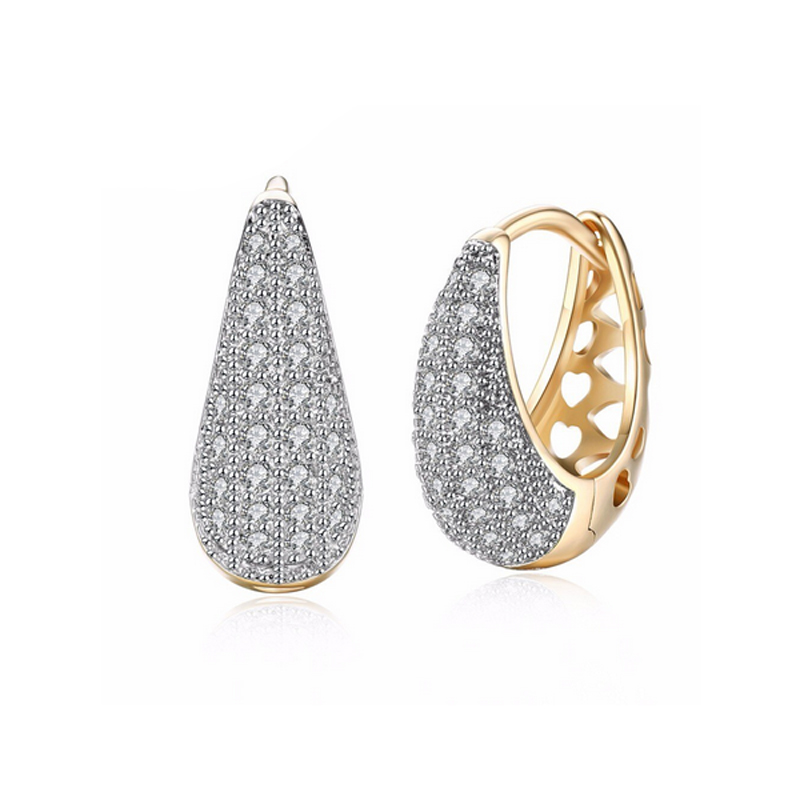 Gold CZ Hoop Earrings Elegant Party Jewelry