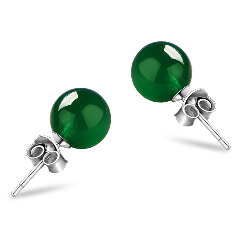 Green Agate Stud Earrings 925 Sterling Silver