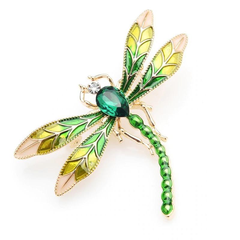 Green Crystal Dragonfly Brooch Enamel Wedding Pin