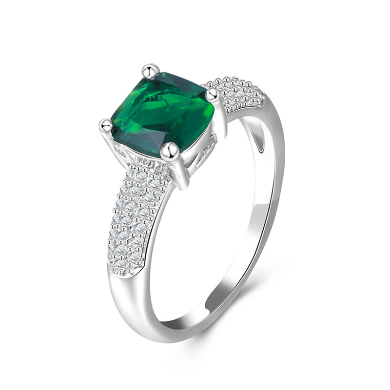 Green Square Stone Ring 925 Sterling Silver CZ