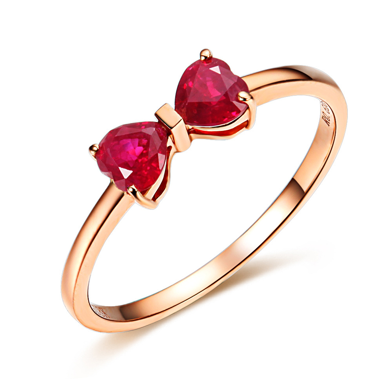 Love Hearts Ruby Ring 18K Rose Gold Plated S925