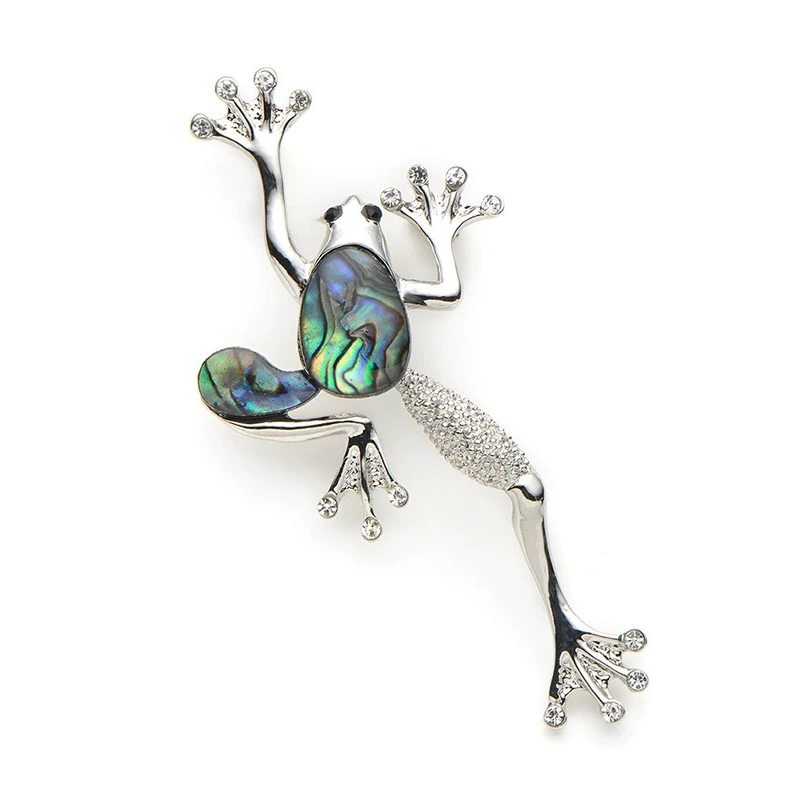 Natural Shell Frog Brooch Alloy Hat Scarf Pin