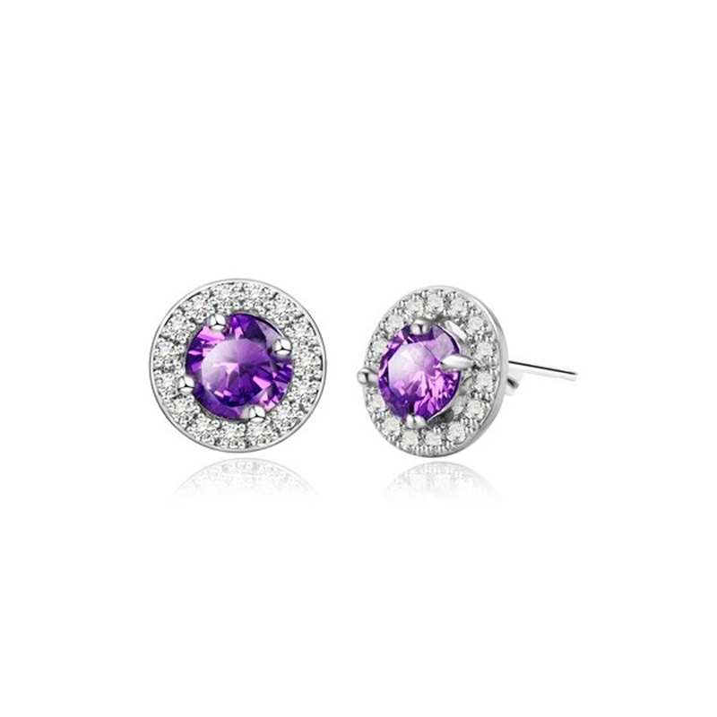 Cubic Zirconia Round Earrings Copper Small Stud