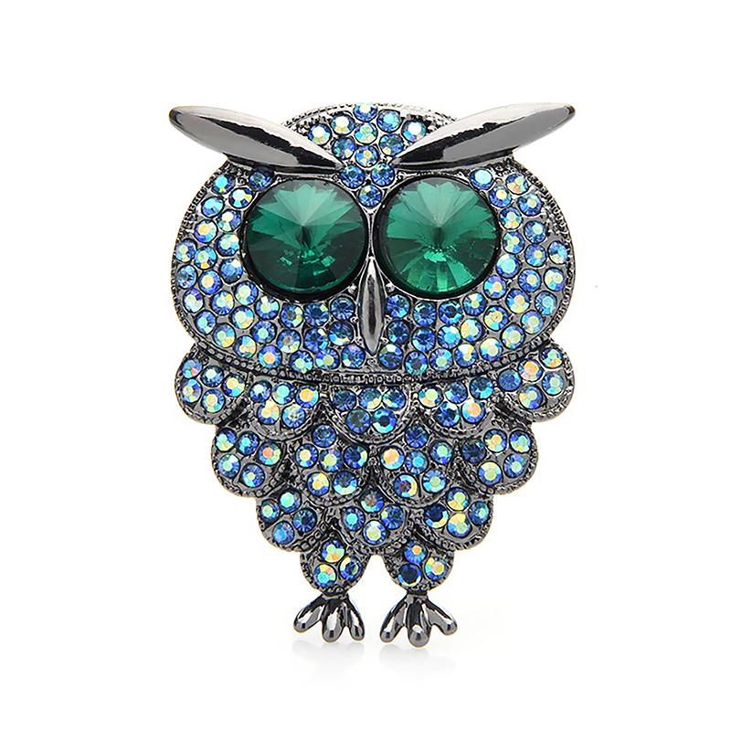 Rhinestone Owl Brooch Elegant Bird Jewelry