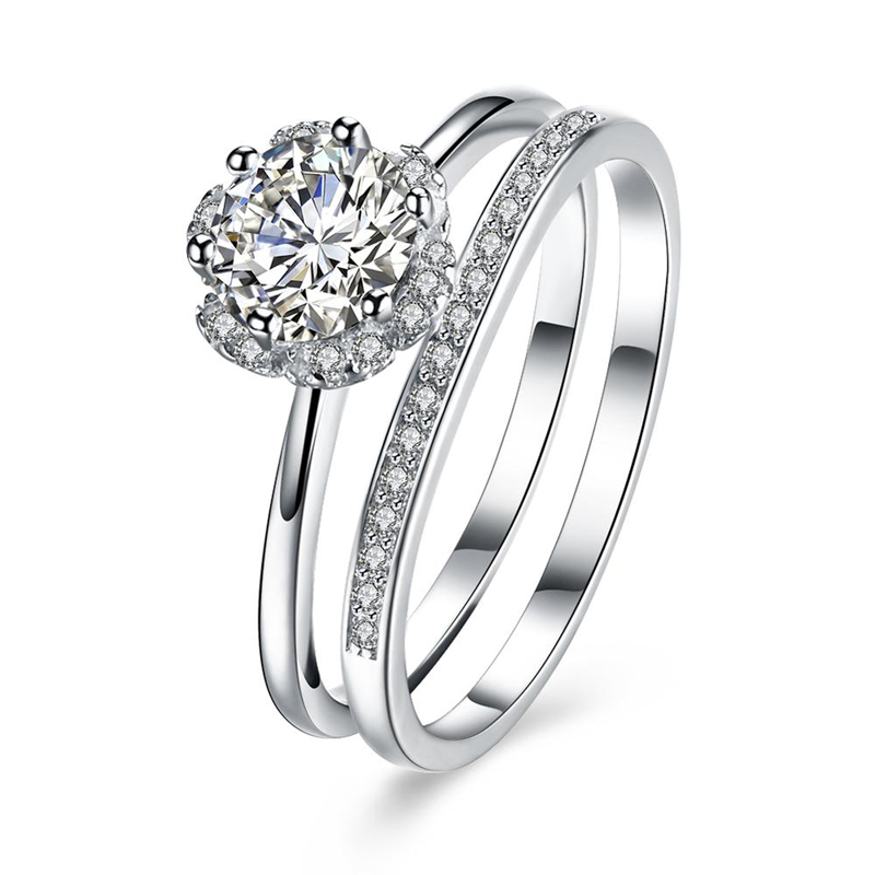 S925 Wedding Solitaire Ring CZ Stackable Engagement