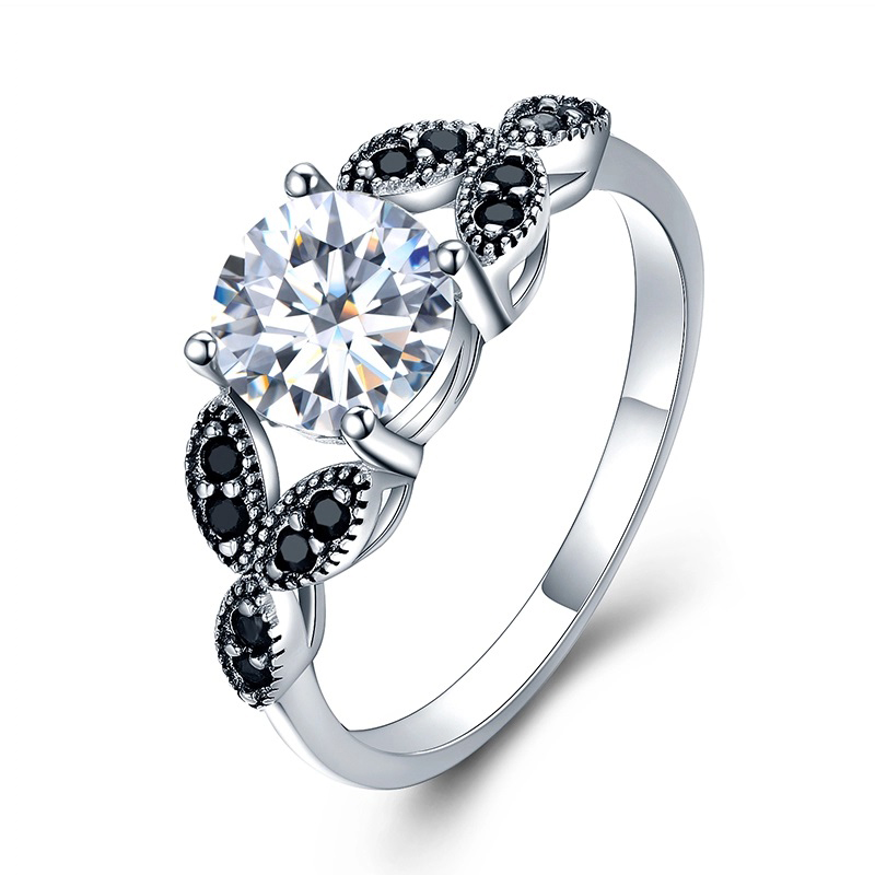 Silver CZ Flower Ring S925 Black Clear Cubic Zirconia