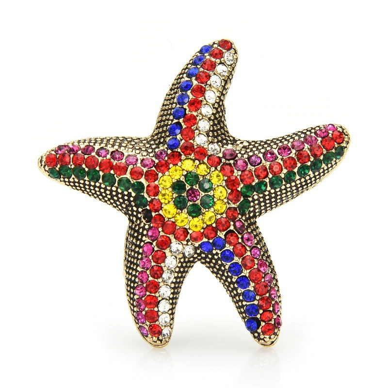 Starfish Brooch Rhinestone Multi-Color Pin