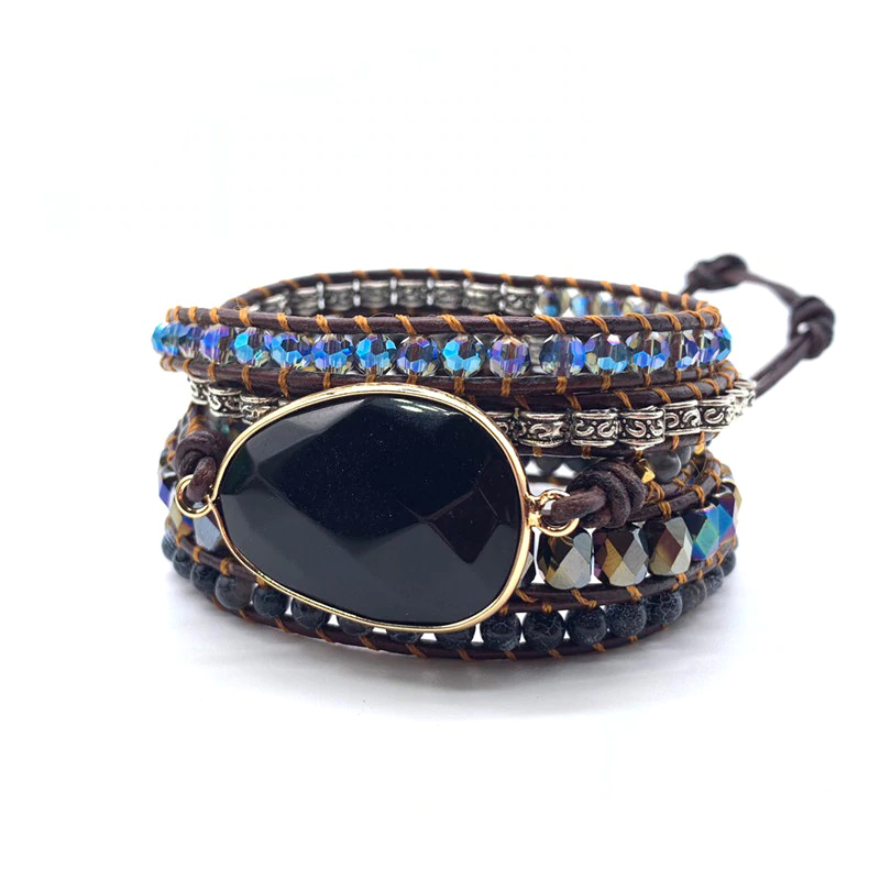 Black Onyx Bohemian Bracelet Wrap Leather Agate