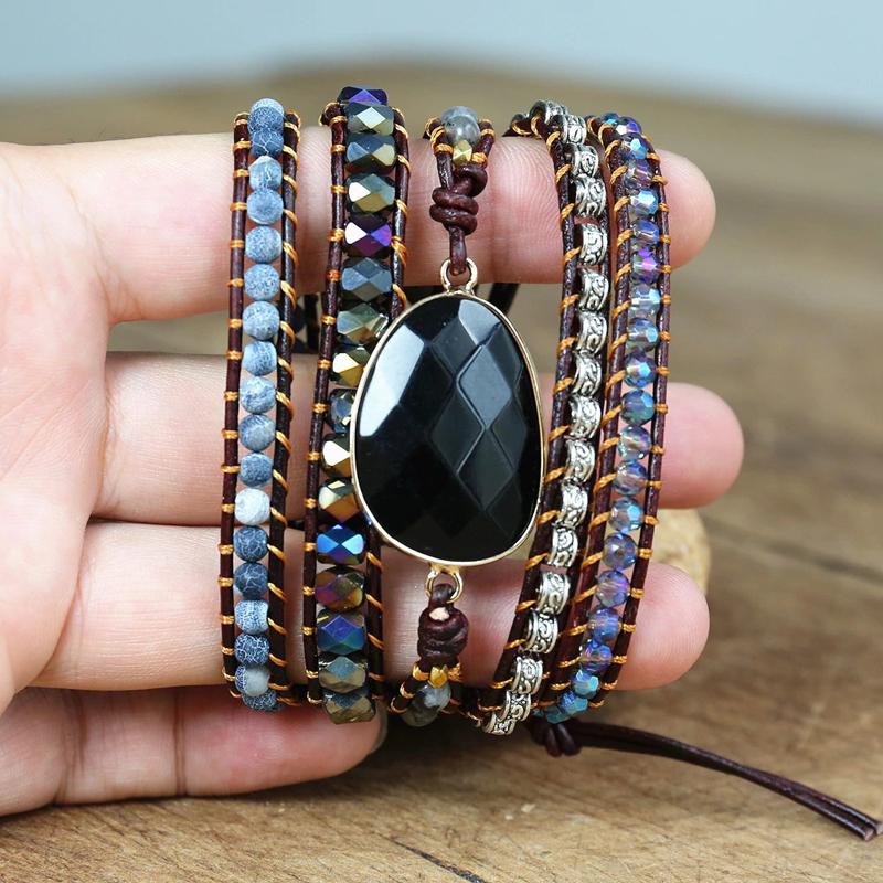 black-onyx-bracelet-wrap-leather-agate-bohemian-BR-15708