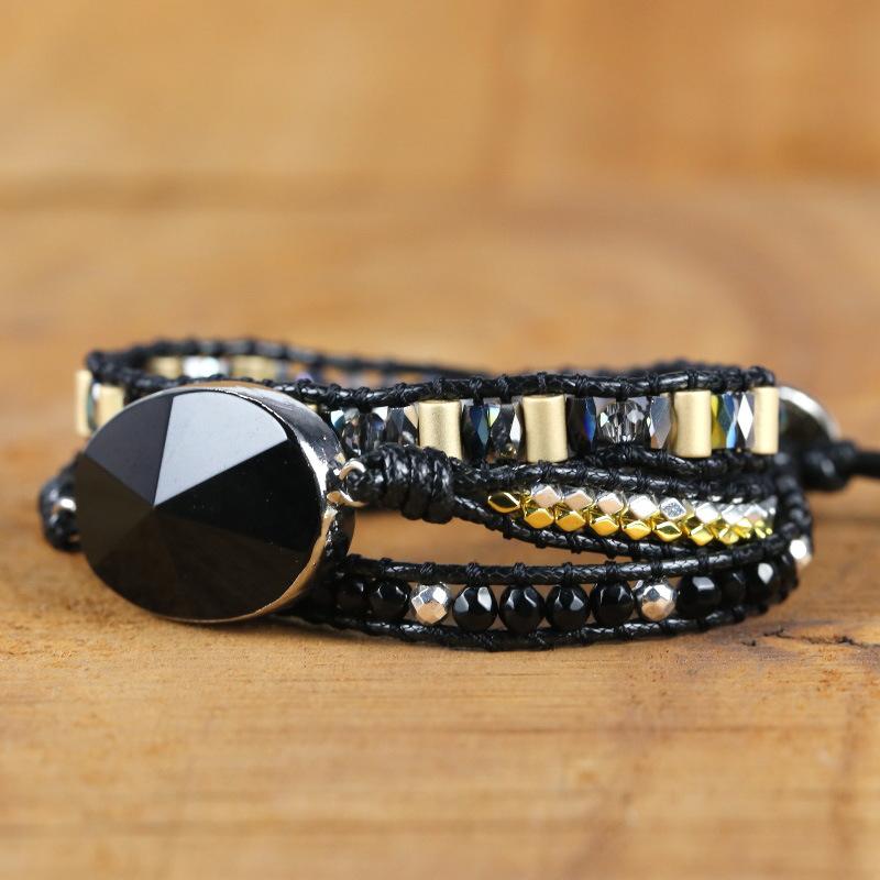 black-stone-bracelet-charm-african-adjustable-wrap-BR-15702