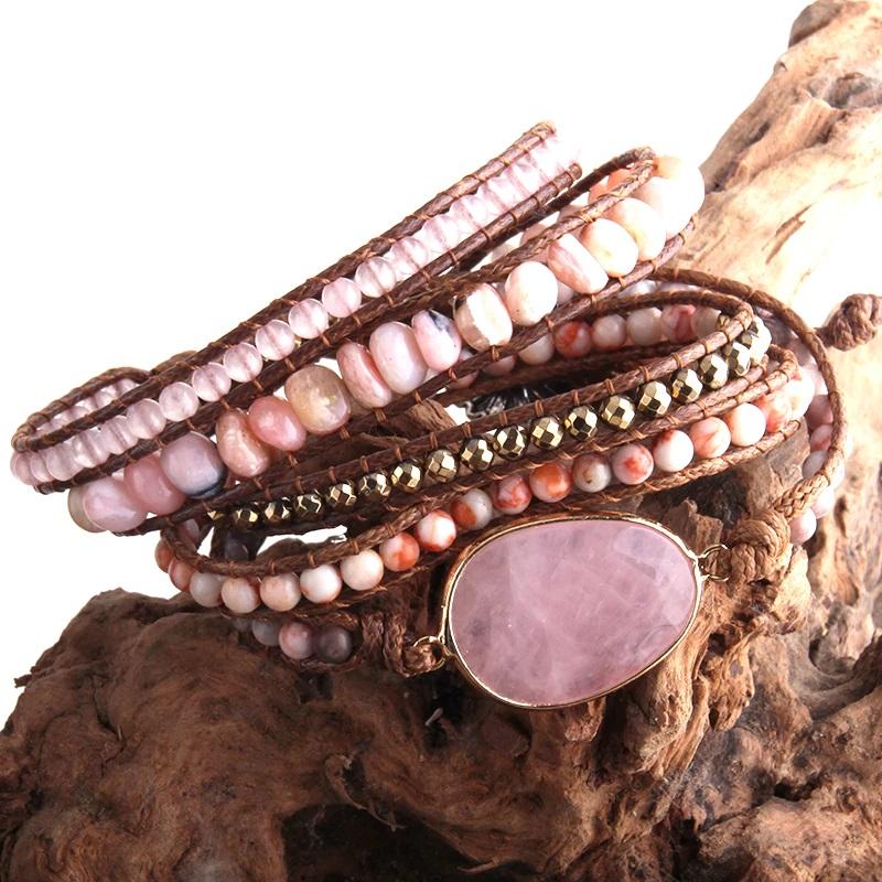 Bohemian Handmade Wrap Bracelet Natural Stones
